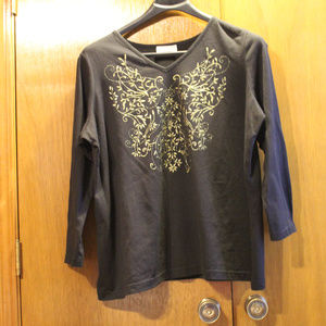 Venezia Black 2X shirt with gold embellishment